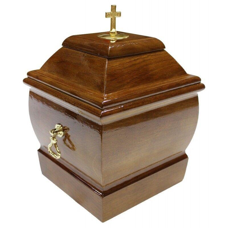 Bonito Macizo Madera Ataúd con Cruz y Manillas Funeral Ashes Urna para Adulto
