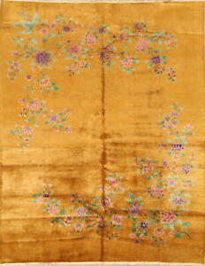 Antique-Transitional-Floral-Dark-Gold-Art-Deco-Nichols-Chinese-9-039-x11-039-Area-Rug