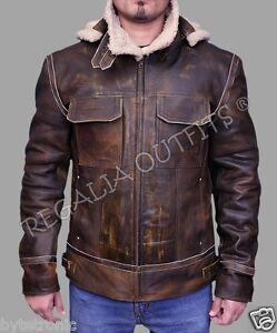 Mens Aviator Vintage Bomber Pilot Shearling Fur Real Winter Hood ...
