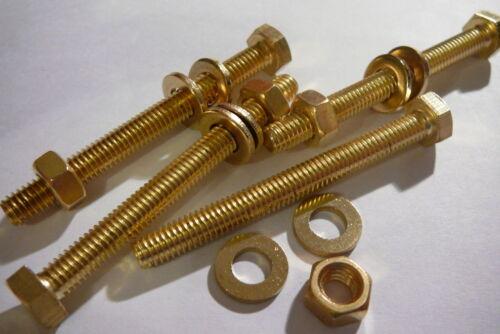M6X60 BRASS HEX HEAD BOLTS NUTS /& WASHERS PACK 0F 4 BRASS SET SCREWS X4