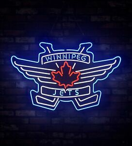 detailed look 2f471 1bcee Details about WINNIPEG JETS Store Eye-catching Real Glass Display Beer Sign  30