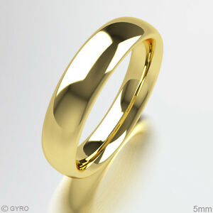 Wedding-Ring-Yellow-Gold-Court-Comfort-Fit-Band-Heavy-Weight-Hallmarked-9ct