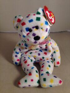 63af81866fb Beanie Babies TY 2K Confetti TEDDY BEAR 1999 2000 TAG ERRORS ...