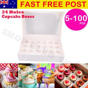 Premium Cupcake Box Range 2 4 6 12  24 hole Window Face Cases Party 5-100 PCS