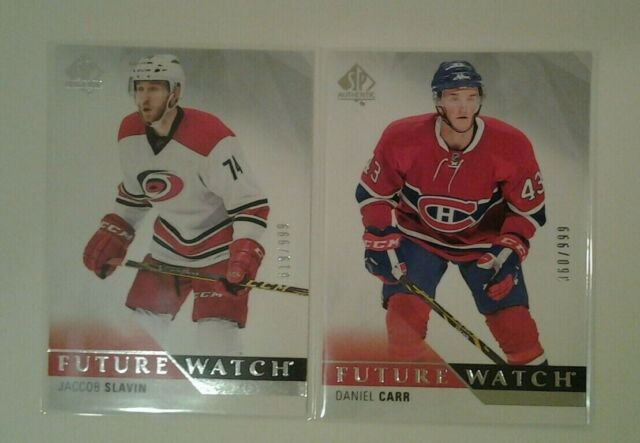 15-16 SP AUTHENTIC FUTURE WATCH LOT (2) JACCOB SLAVIN, DANIEL CARR /999