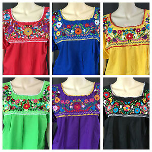 Shineflow Womens Casual 3/4 Sleeve Floral Embroidered Mexican Peasant  Dressy Tops Blouses Shirt Dress Tunic - B0725JQ7DL