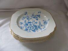 """Coalport blue Albion Sprays gold rim 6 square salad dessert plates 6.75"""""""