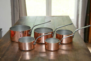Copper-Pans-5-1-8-2-2mm-Vintage-French-Factory-TIn-Set-Five-Graduated-Pots