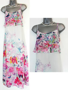 MONSOON-Ivory-Floral-Botanical-Strappy-Maxi-Dress-With-Side-Slits-SMALL