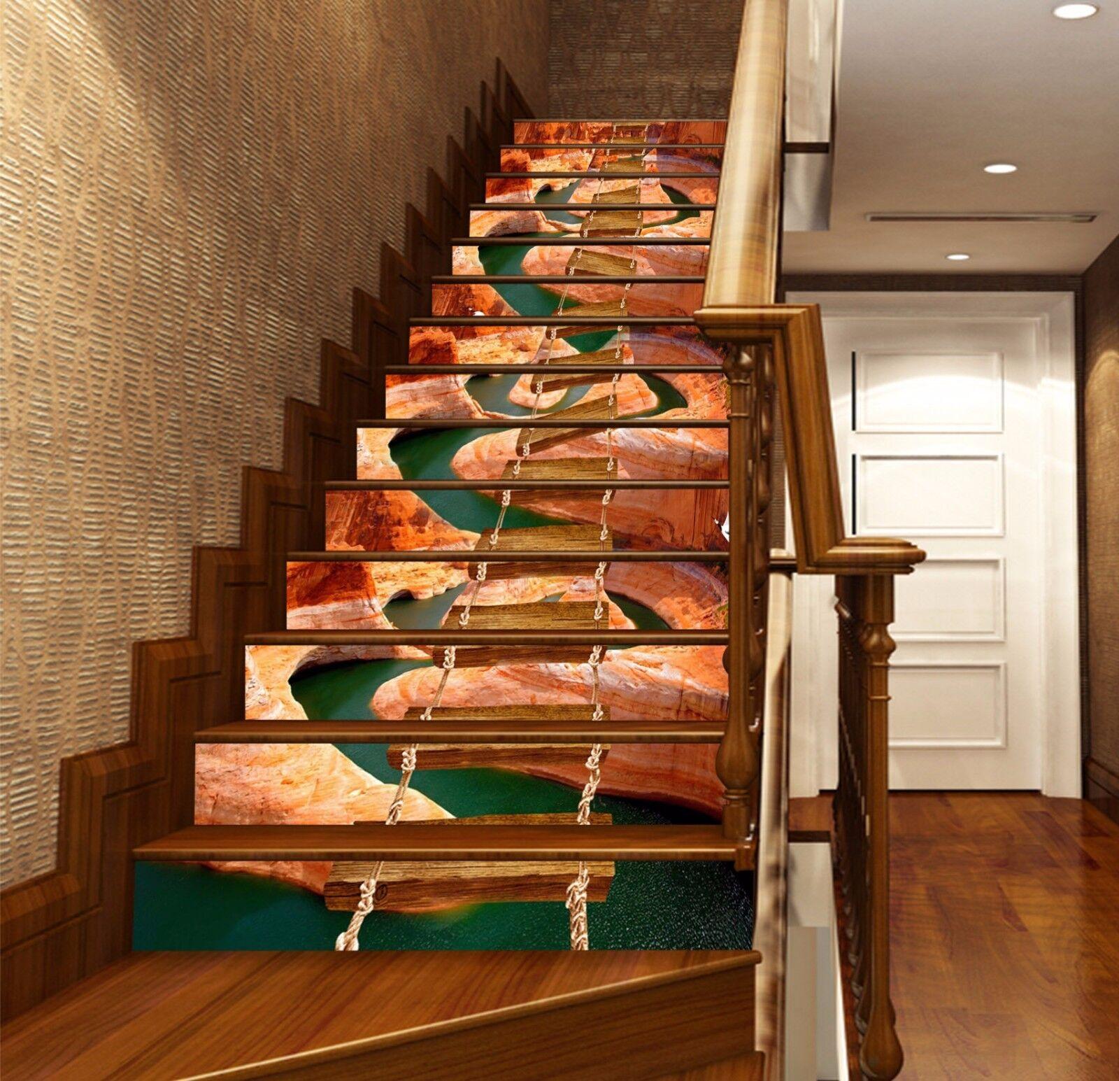 3D Bridge River 657 Stair Risers Decoration Photo Mural Vinyl Decal Wallpaper UK