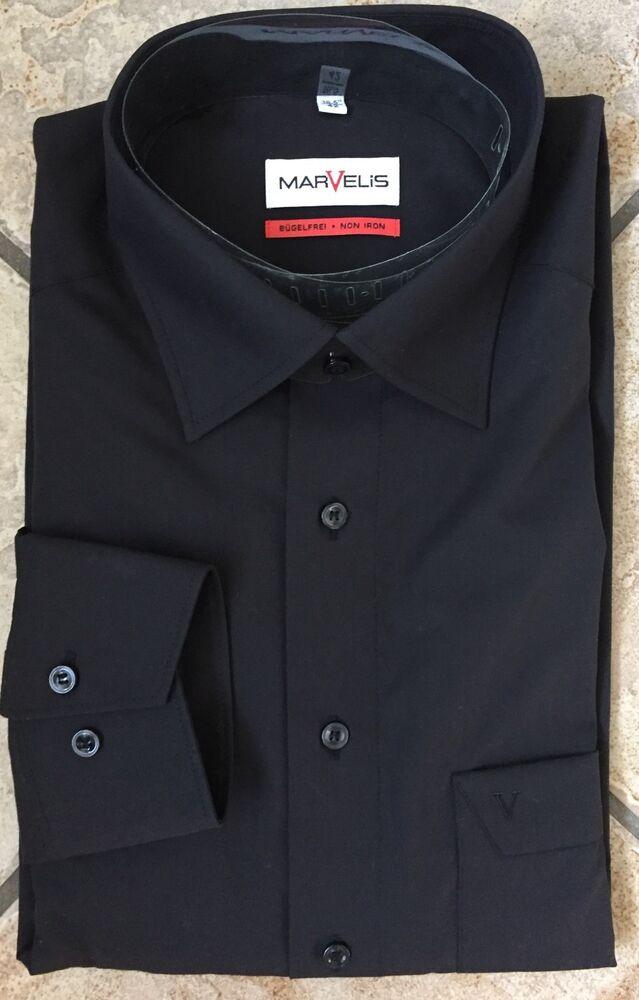 Marvelis Chemise Homme Manche Longue Noir Comfort Fit Taille 42 Kentkragen Disponible
