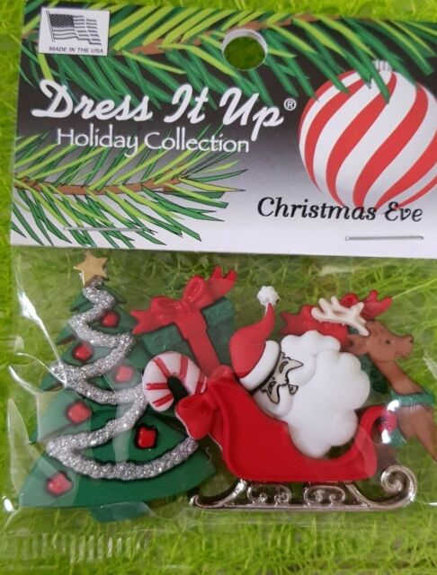 CHRISTMAS EVE Buttons EMBELLISHMENTS NEW in package! Dress It Up Christmas