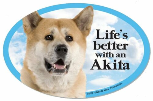 """Life/'s Better with an Akita  6/"""" x 4/"""" Oval Dog Magnet for Cars Fridges and more"""