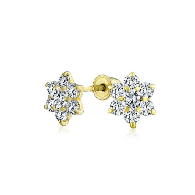Yellow Gold Gorgeous 14K Birthstone Flower Dangle Earrings with Screwback and Cubic Zirconia
