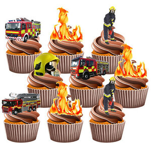 Remarkable Fireman Party Pack Birthday Cake Decorations 36 Edible Stand Up Funny Birthday Cards Online Alyptdamsfinfo