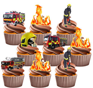 Phenomenal Fireman Party Pack Birthday Cake Decorations 36 Edible Stand Up Funny Birthday Cards Online Alyptdamsfinfo