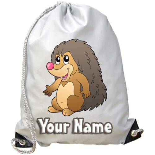 HEDGEHOG CARTOON PERSONALISED GYM SWIMMING PE DANCE BAG KIDS NAMED GIFT