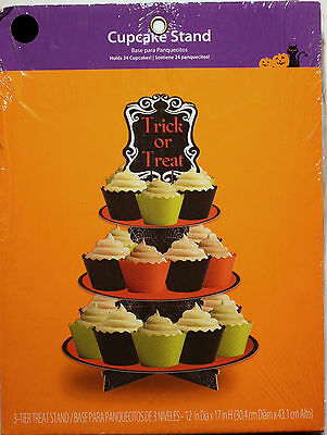HALLOWEEN CUPCAKE STAND Party Supplies 3-Tier Decoration Serving Display NEW