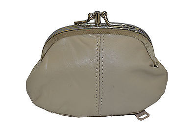 COIN PURSE DOUBLE FRAME WITH ZIPPER POCKET NEW BEIGE