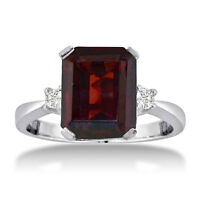 14K WHITE GOLD 1.5CT EMERALD CUT GARNET AND DIAMOND RING, SIZES 4-9.5