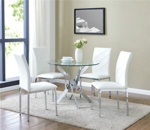 Glass Round Dining Table Set And 4 White Chairs Faux Leather Modern