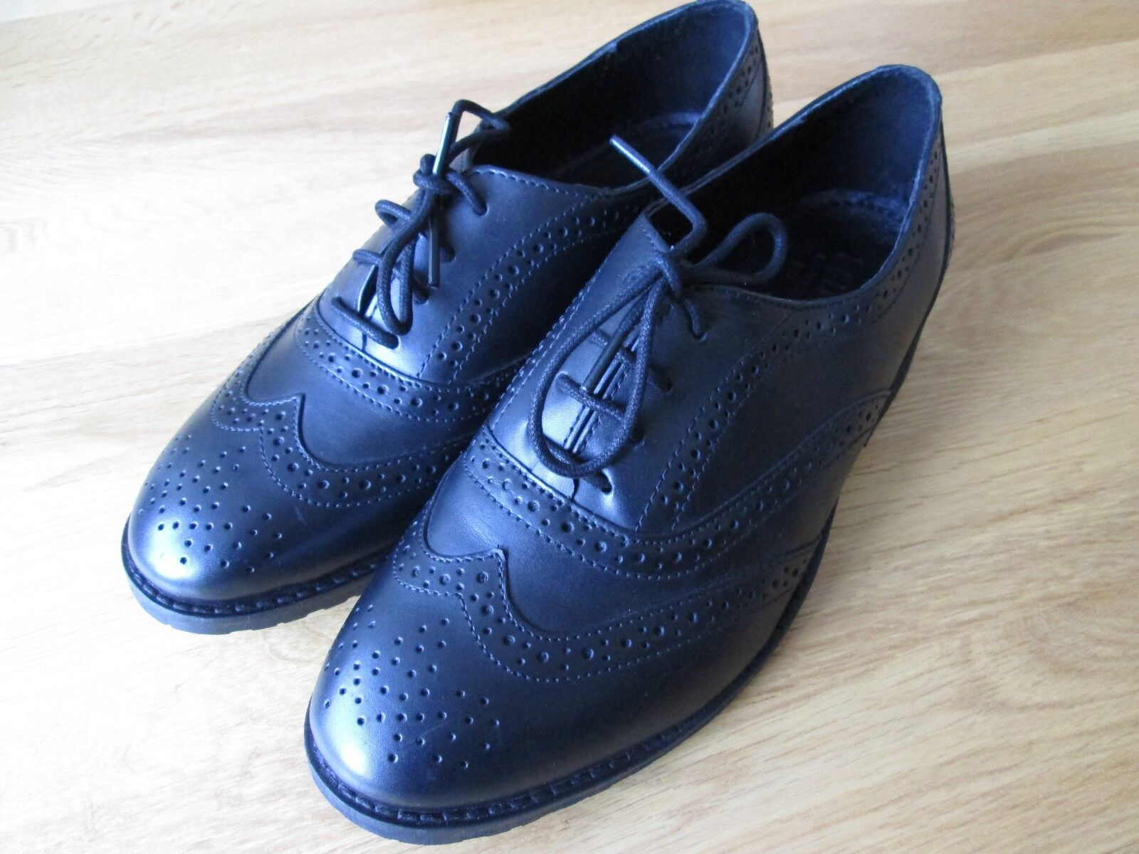 Brand new ladies blogger style Bertie black leather Brogues