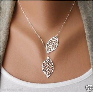 Halskette-Silber-plattiert-Silberne-Blaetter-lang-66-cm-Mode-aktuelle