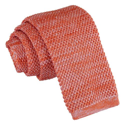 DQT Knit Tricot Mélange Plain Moucheté Orange Casual Homme Skinny Cravate