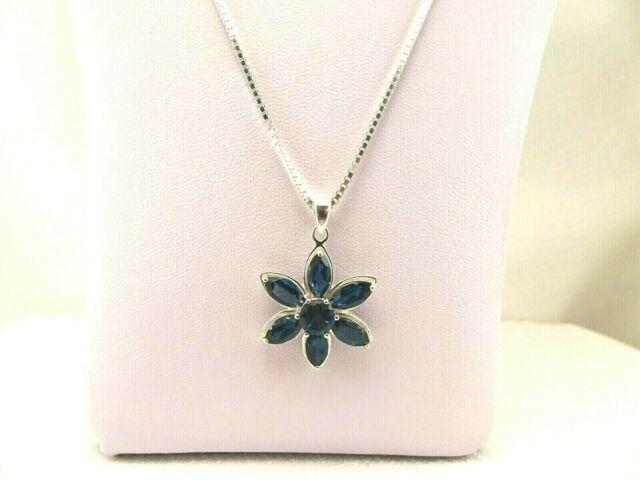 4.70 ct Natural London Blue Topaz Solid Sterling Silver Flower Cluster Necklace