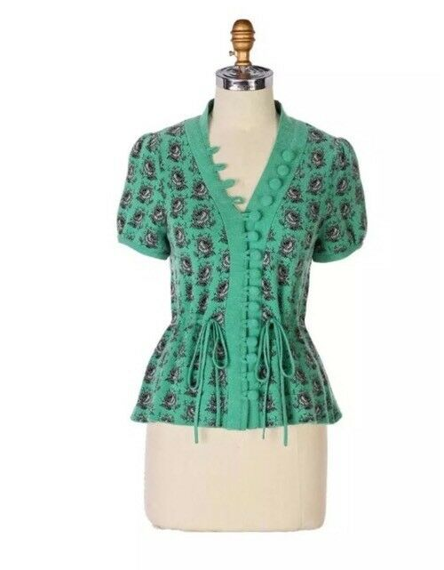 Leifsdottir Anthropologie Intarsia Cardigan Sweater Green pink Size Medium