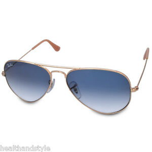 6887bf05de Ray Ban RB3025 001 3F Aviator Sunglasses Gold Light Blue Gradient ...
