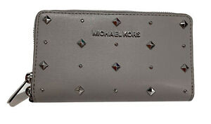 NEW Michael Kors Leather Stud Jet Set Travel Flat MF Phone Case Wallet Pearl Gre
