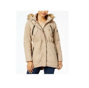 7078815e7ea Madden Girl Juniors' Faux Fur Trim Removable Hood Parka Coat, Sand ...