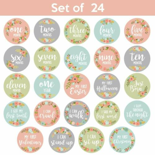 Baby Milestone Monthly /& Holiday Stickers For Photos Floral No Glare 24 Pack