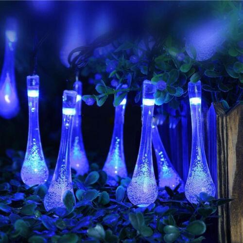 30 LED Raindrop Blue Solar Powered String Fairy Lights Xmas Outdoor Garden Party