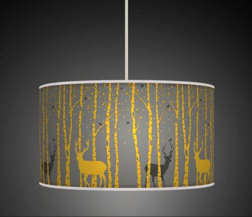 20 cm arbres Stag Deer Moutarde Gris Fait Main Tissu Abat-jour Lumière Pendentif 632