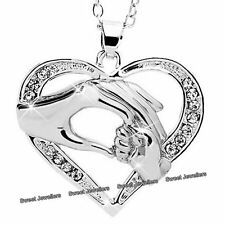 MOTHER & DAUGHTER Silver Heart Necklace Crystal Diamond XMAS Gifts For Her Women