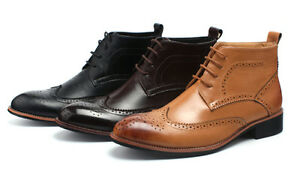 Winter Men Casual Leather Wing Tip High Top Dress Shoes Ankle ...
