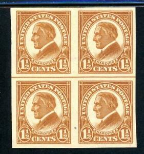 USAstamps-Unused-VF-US-Harding-Imperforate-Block-Scott-576-OG-MNH