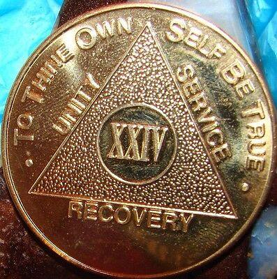 Details about  /25 Year 24k Gold Plated AA Medallion Alcoholics Anonymous Sobriety Chip