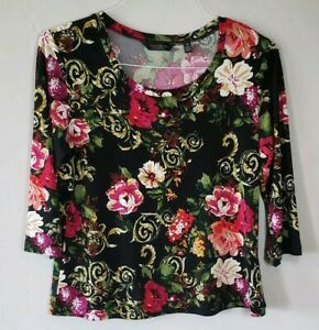 Investments-Petites-3-4-Sleeve-Floral-Top-Size-PM