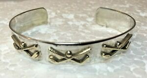 Vtg-solid-sterling-silver-925-Courtney-Peterson-GOLF-CUFF-BRACELET-7-5-034