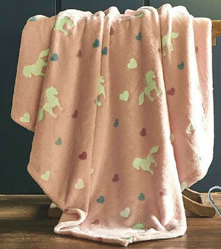 New Pink Glow in the Dark Unicorn Soft Plush Gift Fleece Throw Blanket Hearts
