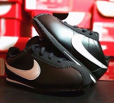 NIKE CORTEZ (TD) BLACK/WHITE LEATHER TODDLER 6C-10C