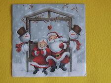 5 Servietten Mr and Mrs CLAUS Weihanchtsmann FRAU Schneemann BANK Weihnachten