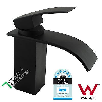 Square Waterfall Brass Faucet Bathroom Vanity Sink Basin Mixer Tap Matte Black