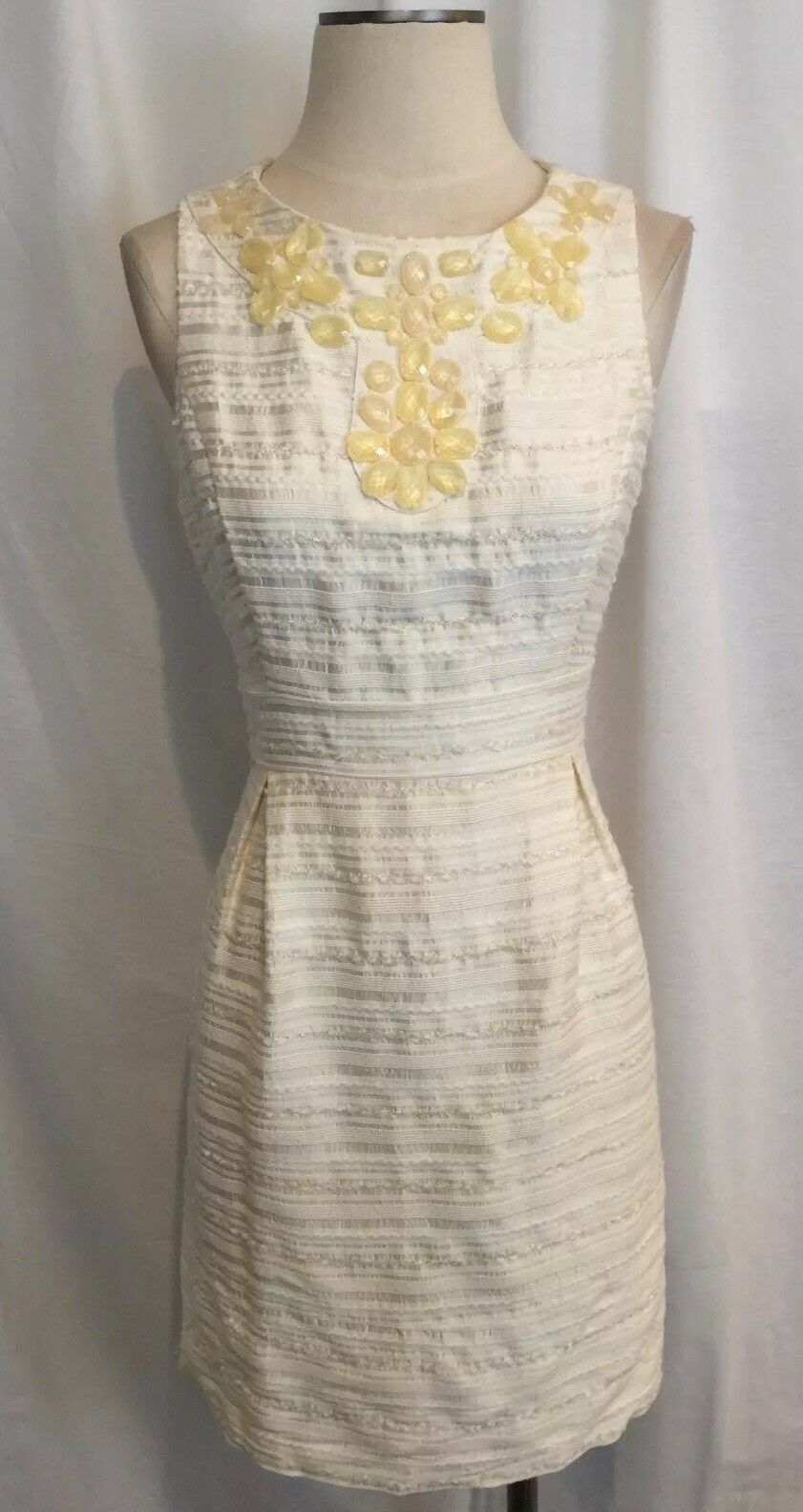 ELIZA J NEW YORK 8 M 100% SILK SLEEVELESS LINED DRESS CREAM WHITE VERY PRETTY