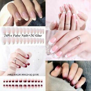 24pcs-Set-Full-Cover-False-Fake-Nails-Tips-Nail-Art-Design-French-With-Glue