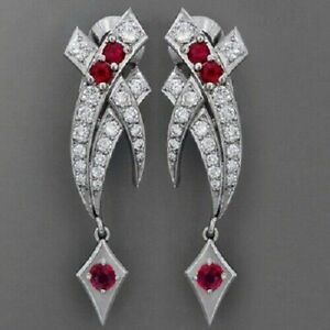 3-CT-Pink-Sapphire-Round-Diamond-Art-Deco-Earring-14K-White-Gold-FN-925-Silver
