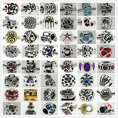Silver Charms Beads Fit sterling 925 Necklace European charm Bracelet Chain S1